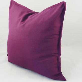 Подушка однотонная, фиолетовая, цветная, диванная с замком.