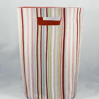 Корзина из ткани, интерьерная корзина в разноцветную полоску.  Декор в детскую. Корзина для игрушек.
