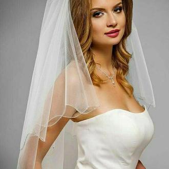Свадебная фата с бисерной каймой.
