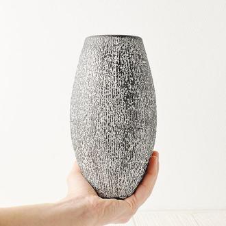 Большая керамическая ваза в стиле арт-деко, высота 20 см, Черно-белая, арт.№58