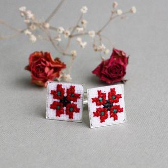 Запонки унисекс в украинском этническом стиле Свадебные аксессуары для жениха