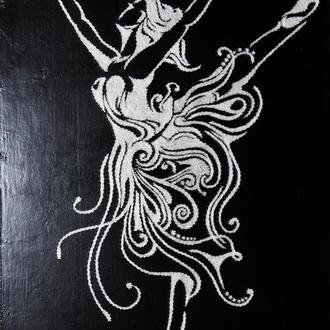Балерина. Объёмная картина в стиле Стринг Арт