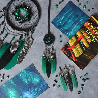 Черный зелёный кулон ловец снов