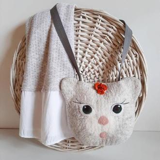 Сумка-кошечка, детская сумочка, валяная сумка, шерстяная
