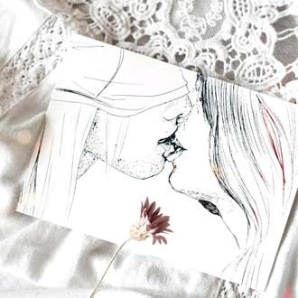 Открытка (Валентинка) Поцелуй