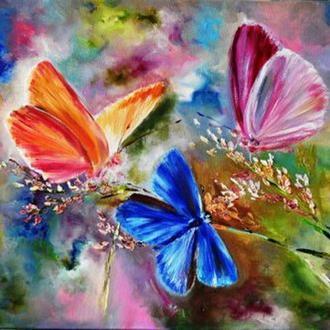 """Картина маслом """"Дыхание лета"""",  бабочки, 60х80 см"""