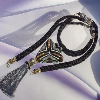 """Ожерелье """"WIND FORCE"""" в стиле бохо / Лариат из бисера женский в этно стиле"""