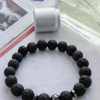 Браслет из натуральных камней, браслет из лавового камня, мужской браслет, браслет на подарок
