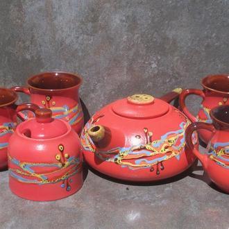 """Чайный набор большой на 4 персоны, декор """"Кромка"""" красный"""