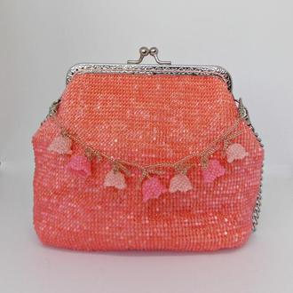 Сумочка из бисера, вечерняя сумочка, коралловая сумка, вязание с бисером