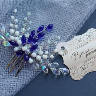 Синий гребень для свадебной прически, гребешок для невесты, яркий гребень для волос