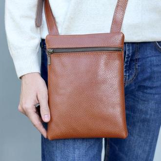 Мужская кожаная сумка с ремнем через плечо_ кожаная повседневная коричневая сумка