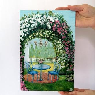 Картина маслом арка с цветами, Декоративная арка, Цветы у дома, Красивая альтанка, В саду у дома