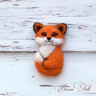 Войлочная брошь Лиса, брошь из шерсти лисичка, лисёнок
