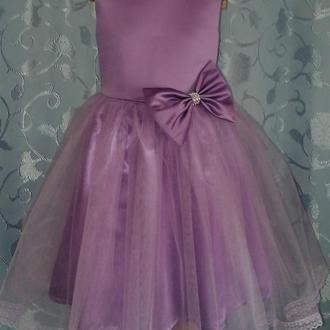 Нарядное детское сиреневое платье с бантом, модель № 64