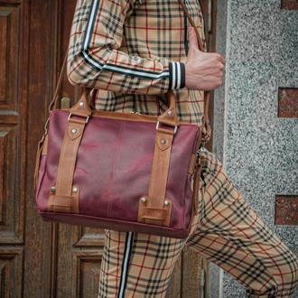 Мужская кожаная сумка для документов и ноутбука, Портфель мужской из кожи