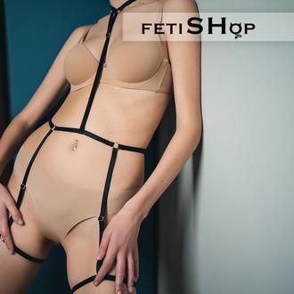 Бандаж на все тело, портупея из резинки, стрепы, эротическое нижнее белье, сексуальный набор белья
