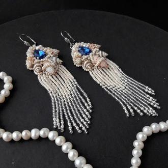 Серьги с ракушками и кристаллами, весільні сережки, бежевые серьги, серьги-кисточки, бисерные серьги