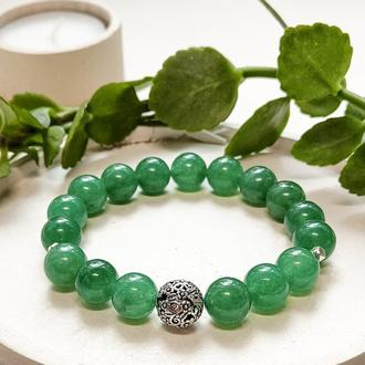 Браслет из натуральных камней, браслет из нефрита, зелёный браслет, браслет на подарок