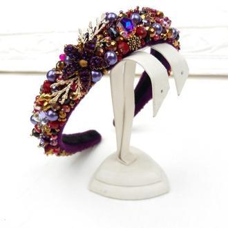Обруч зі штучним перлами, кристалами і намистинами, Фіолетовий обідок, пурпуная тіара нареченої