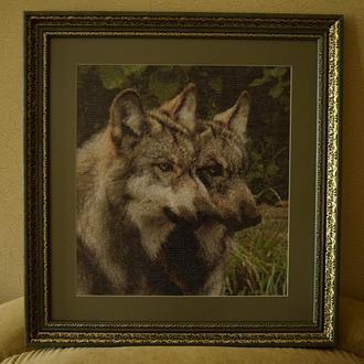 "Картина вишита хрестиком ""Вовки"""