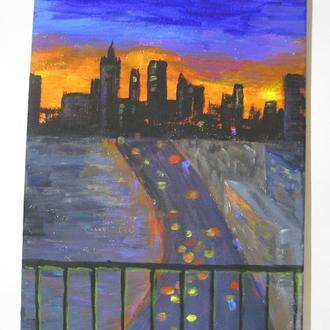 """Интерьерная картина """"Нью Йорк"""" 20х30 см, холст на подрамнике, акрил"""