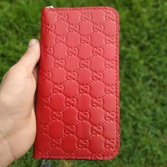 Женский большой кошелек на молнии/ кошелек красный кожаный/кожаный кошелек