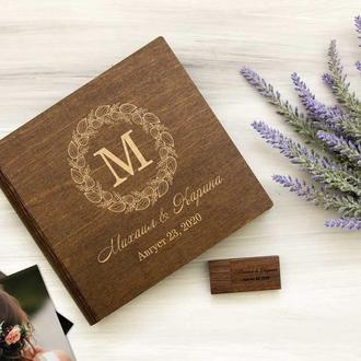Подарочная коробочка для фотографий и флешка из дерева