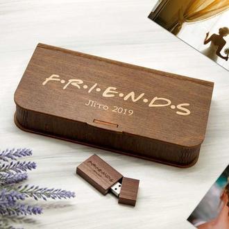 Деревянный бокс для фотографий и флешки с лазерной гравировкой FRIENDS