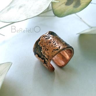 широкое медное кольцо с фактурой