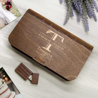 Коробочка из дерева для флешки и фотографий с лазерной гравировкой