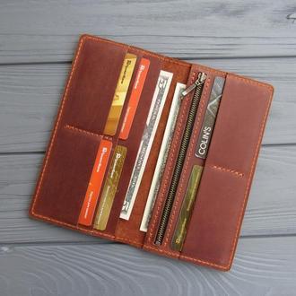 Кожаное портмоне Vilena, портмоне из натуральной кожи_коричневый, подарок мужчине