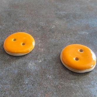 Керамічні ґудзики помаранчеві 25 мм