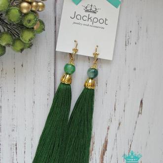 Длинные зеленые серьги кисточки Натуральный камень кварц ручная работа