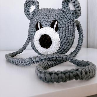 Детская сумочка. Вязаная детская сумка. Сумка-мышка. Вязаная сумка