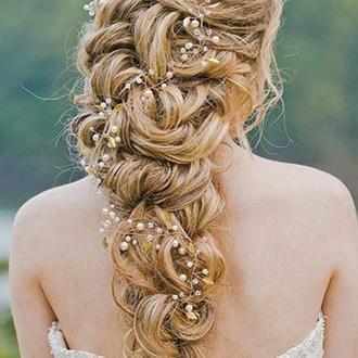 Веточка в прическу веточка для волос 60 см Жемчужинки Хрусталь золотистые листочки