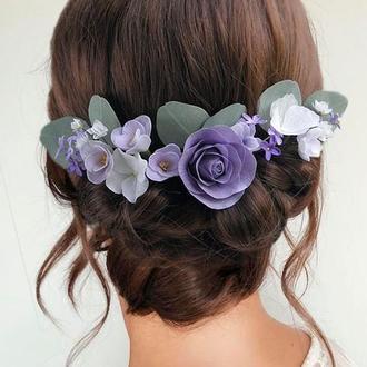 Шпильки для волосся з фіолетовими квітами та евкаліптом
