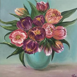 """Картина маслом"""" Букет тюльпанов"""""""