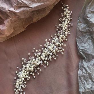 Свадебная веточка с жемчугом в прическу