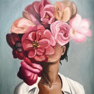 """Картина маслом """"Девушка в розах"""""""