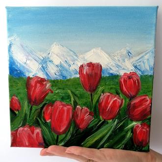 Картина маслом тюльпаны, Красивые цветы, Тюльпаны маслом, Пейзаж тюльпаны, Красные тюльпаны