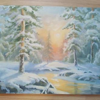 Картина маслом Утро в зименм лесу 60*50см