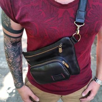 Мужская сумка на пояс , черная  Бананка из натуральной кожи Vittorio Safino VS 016
