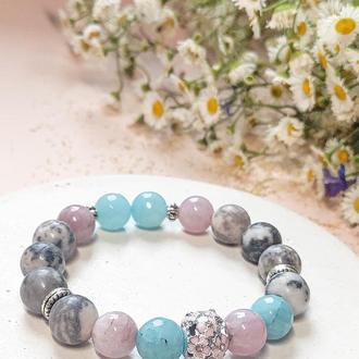 Браслет из натуральных камней, браслет из  розового кварца, яшмы, аквамарина,браслет на подарок