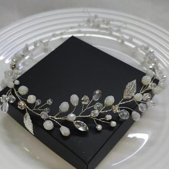 Венок из бусин свадебное украшение в прическу вінок на перше причастя