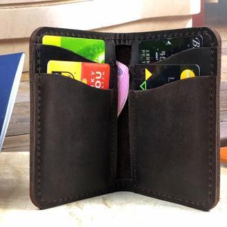 Универсальный кожаный кошелек визитница кардхолдер подарок другу или девушке