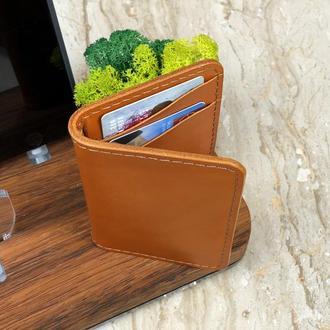 Кожаный компактный кардхолдер с шестью отделениями для карт