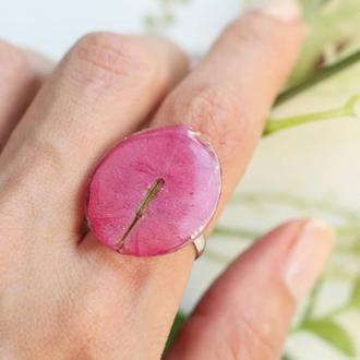 Кольцо с цветком бугенвиллеи