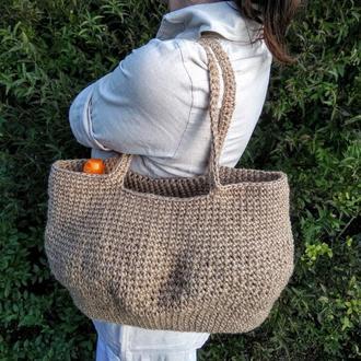 Вязаная эко сумка Сумка шопер Стильная сумка