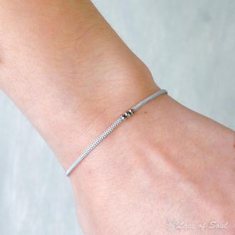 Тонкий плетений браслет на руку. Браслет з намистинами